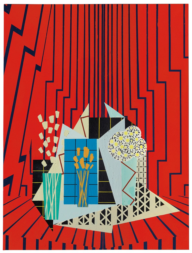 Farah Atassi (b. 1981), Still Life in Red Interior, 2015. 72⅞ x 55 in (185 x 140 cm). Estimate £10,000-15,000. This lot is offered in the Post-War and Contemporary Art Day Auction on 7 March 2018  at Christie's in London