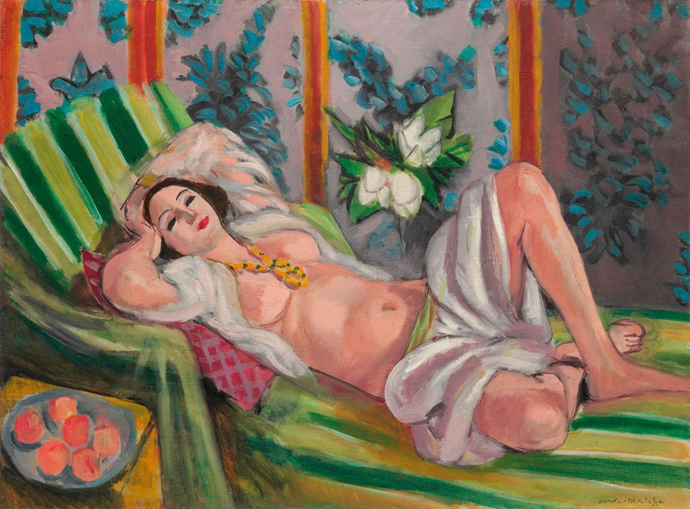 Henri Matisse (1869-1954), Odalisque couchée aux magnolias, painted in Nice, 1923. 23¾ x 31⅞  in (60.5 x 81.1  cm). Estimate on request. This lot is offered in The Collection of David and Peggy Rockefeller 19th & 20th Century Art, Evening Sale on 8 May at Christie's in New York © Succession H. Matisse DACS 2018