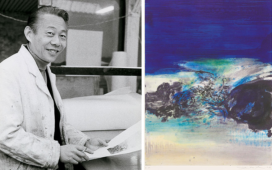 From left Zao Wou-Ki in 1974, examining an artist's proof. Artwork © DACS 2018. Photo Francois Walch © ADAGP, Paris and DACS, London 2018. Zao Wou-Ki (1920-2013), Untitled. This