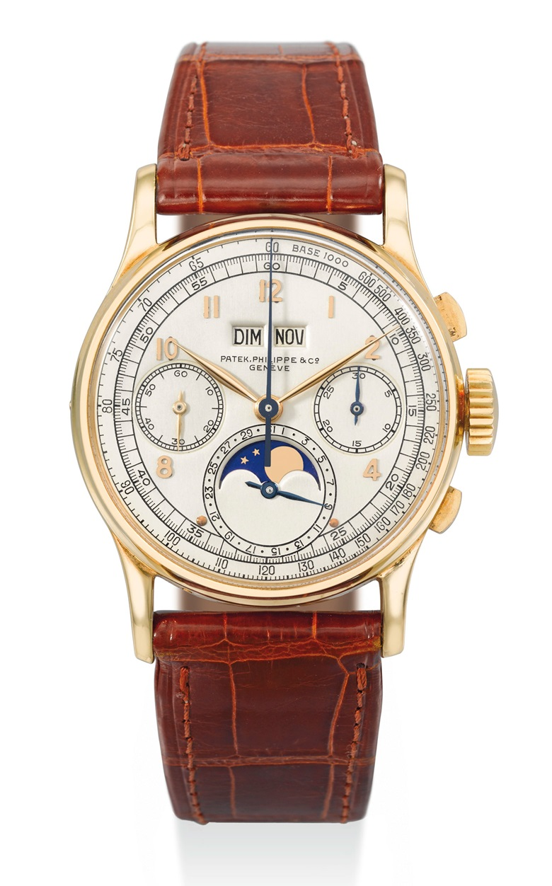 Patek Philippe. An extremely fine, rare and historically important 18k gold perpetual calendar chronograph wristwatch with moon phases. Signed Patek Philippe & Co, Geneve. Ref. 1518. Movement no. 867'528. Case no. 657'236. Manufactured in 1948. Estimate $400,00-800,000. This watch is offered Important Watches Including Contemporary Wristwatches from an Important Swiss Collection on