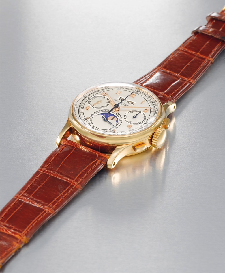 Patek Philippe's 1518 was unveiled at the 1941 Basel Show, and was the first perpetual chronograph model to be made in a series by any watchmaker