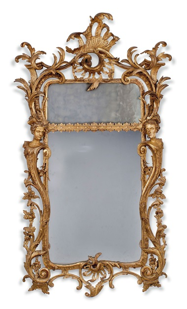 A George II giltwood mirror in the manner of Matthias Lock, circa 1745-50. Estimate £30,000-50,000. This lot is offered in the Interiors sale on 12 April at Christies London