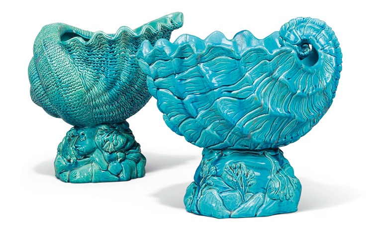 A matched pair of Bermantofts faience turquoise-glazed shell jardinières, late 19th century. Together with another pair by Minton. Estimate £1,000-1,500. This lot is offered in the Interiors sale on 12 April at Christies London