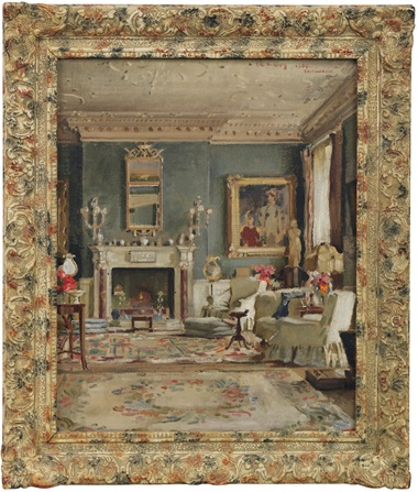 English school, 20th century. A view of the Drawing Room at Faringdon House. Estimate £2,000-3,000. This lot is offered in the Interiors sale on 12 April at Christies London