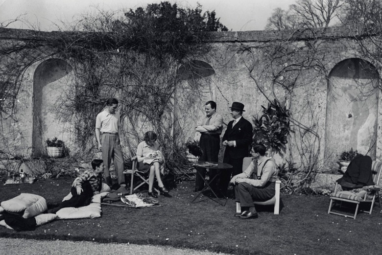 Easter 1939 at Faringdon. From left Frederick Ashton, Robert Heber-Percy, Lady Mary Lygon, Constant Lambert, Lord Berners, Prince Vsevolod of Russia
