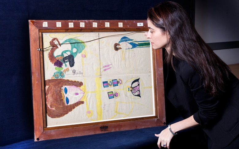 Cara Zimmerman with Aloïse Corbaz's Aristoloches, which realised $137,500 when it was sold at Christie's in New York in January 2018