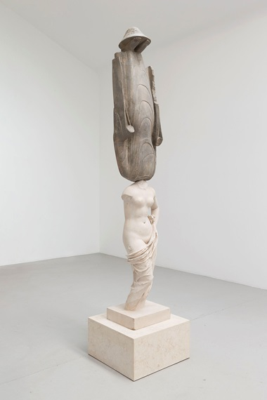 Xu Zhen, Eternity-New 40403 Stone Statue, Aphrodite Holding Her Draper. Mineral-based composite, mineral pigments, stainless steel. 278 x 60 x 60 cm (109.4 x 23.6 x 23.6 in). Madeln Company – 2016. Courtesy Perrotin