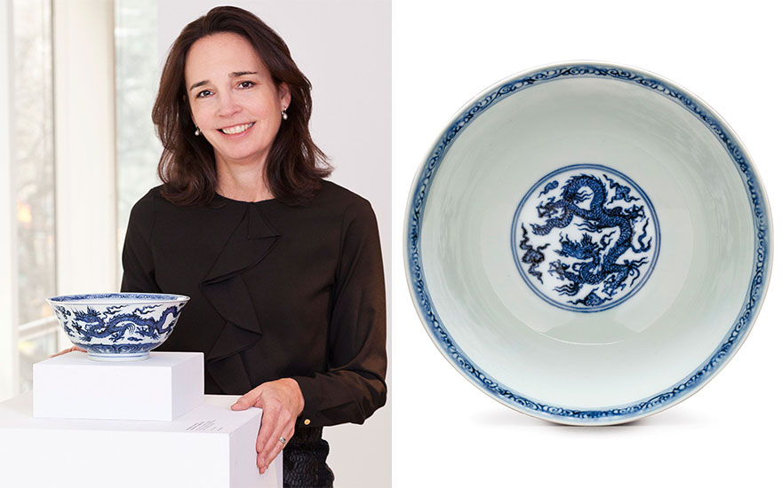 Margaret Gristina with the rare Xuande 'dragon bowl' made almost 600 years ago