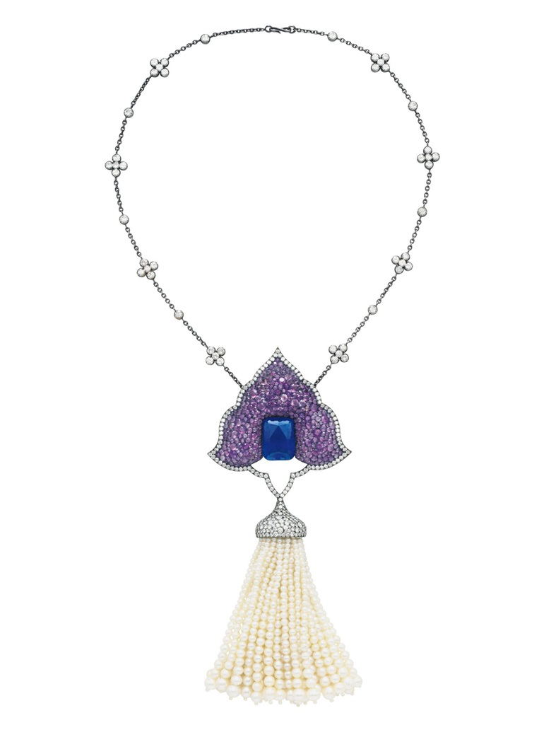 A multi-gem and diamond Moghul pendant-brooch, by JAR. Sold for $432,500 on 17 April 2018 at Christie's in New York