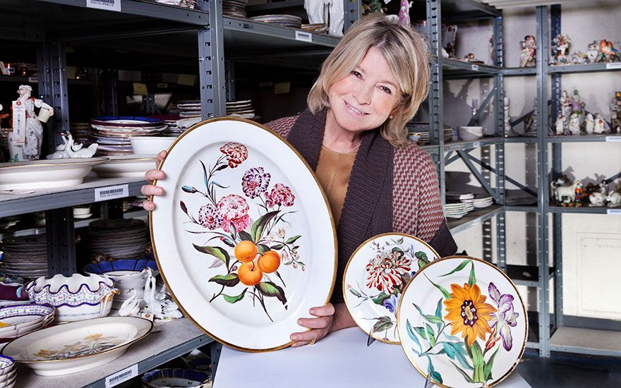 Martha Stewart at Christie's in New York with pieces from the Derby porcelain dinner and dessert service owned by Peggy and David Rockefeller