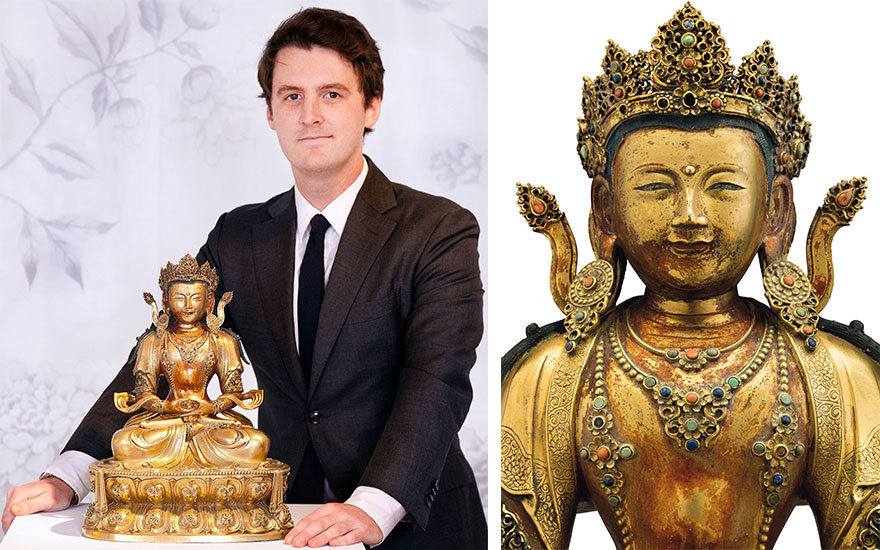 Tristan Bruck with a gilt-bronze figure of Amitayus, made during the reign of the Kangxi emperor (1662-1772)