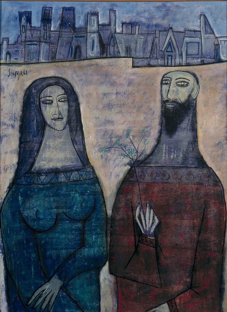 F.N. Souza (1924-2002), Two Saints in a Landscape, 1961. Acrylic paint on canvas. 1283 x 959 mm © The estate of F.N. SouzaDACS, London 2017