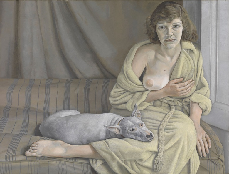 Lucian Freud (1922-2011), Girl with a White Dog, 1950-51. Oil paint on canvas. 762 x 1016 mm © Tate