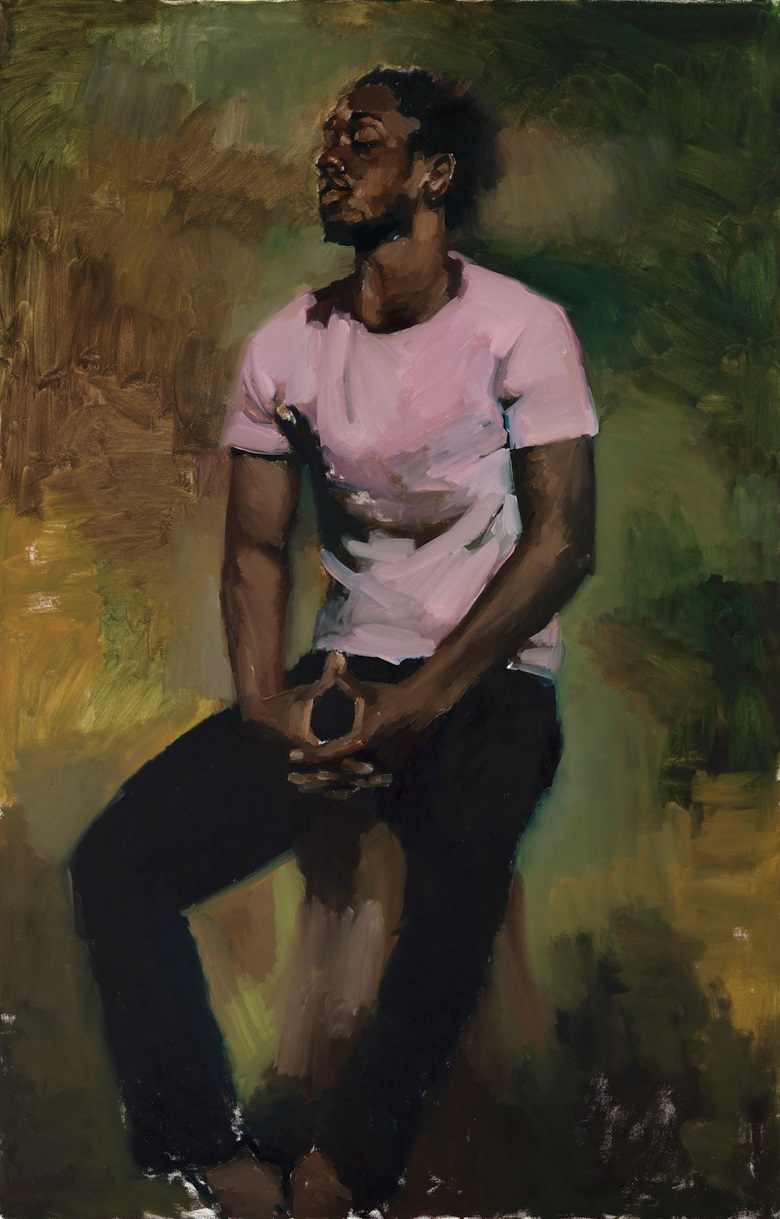 Lynette Yiadom-Boakye (b. 1977), Coterie 0f Questions, 2015. Oil paint on canvas. 2000 x 1300 x 37 mm. Private collection. Courtesy Corvi-Mora, London and Jack Shainman Gallery, New York © Lynette Yiadom-Boakye