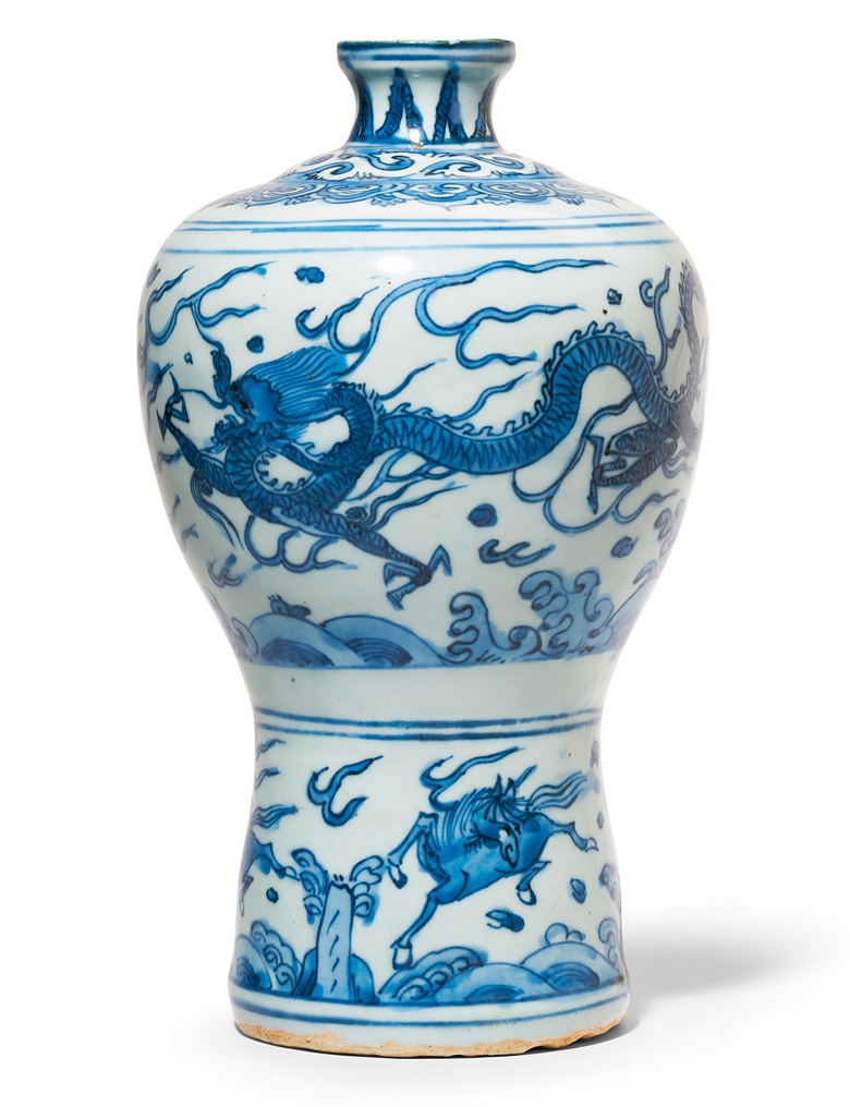 A Blue And White Dragon Vase Meiping Wanli Period 1573