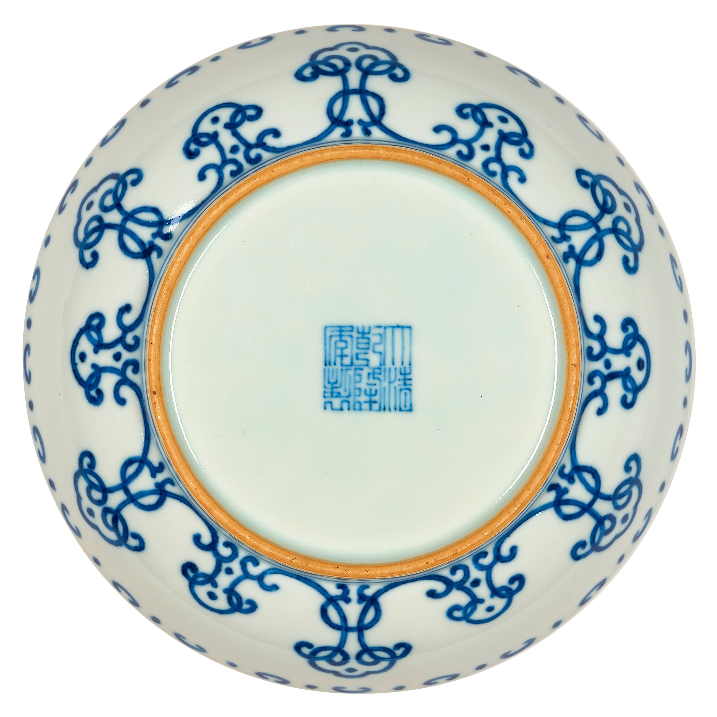 white and blue porcelain pot Chinese stamp