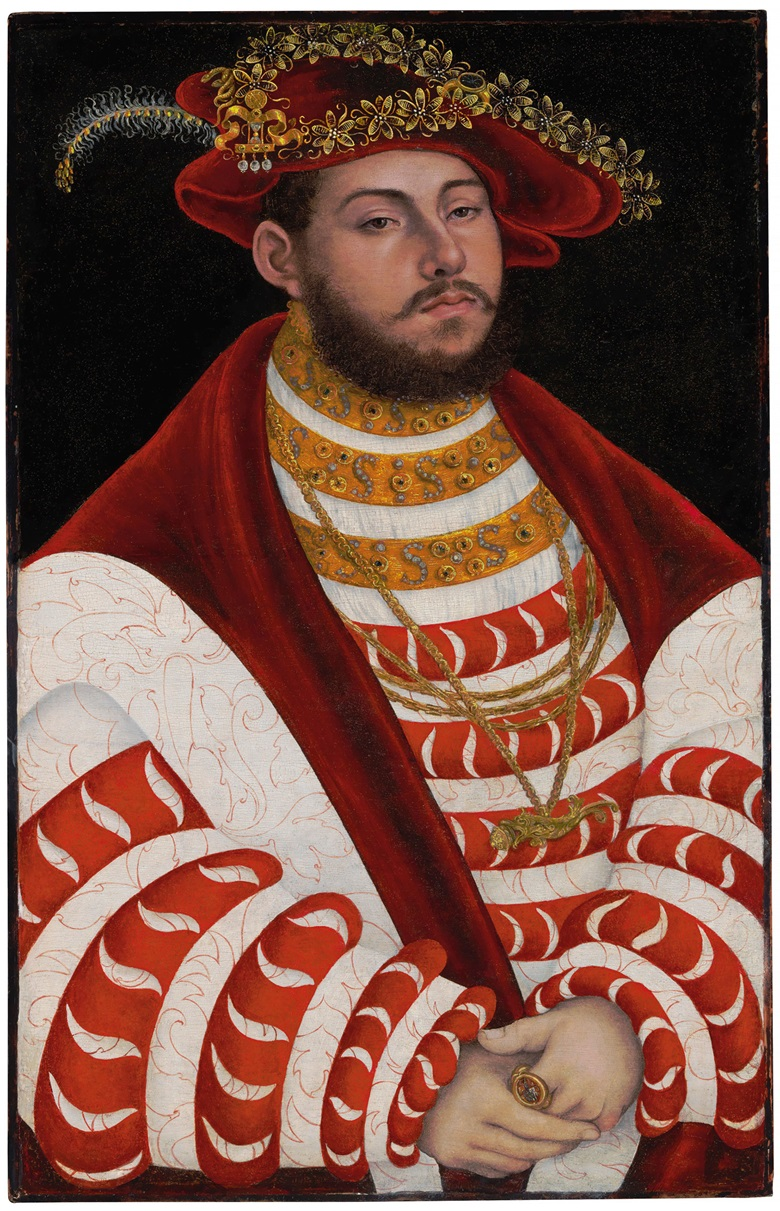 Lucas Cranach I (Kronach 1472-1553 Weimar), Portrait of John Frederick I, Elector of Saxony (1503-1554), half-length. Oil on panel, unframed. 24¾ x 15⅝ in (62.8 x 39.7 cm). Estimate $1,000,000-2,000,000. This work is offered in the Old Masters sale on 19 April at Christie's in New York