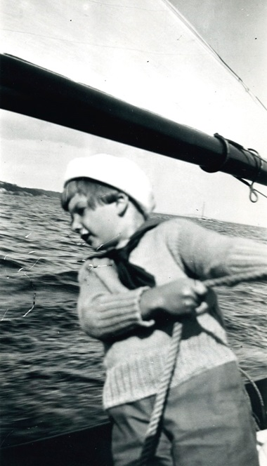 David learning to sail on the Jack Tar in Maine. Photo courtesy of the Rockefeller Archive Center