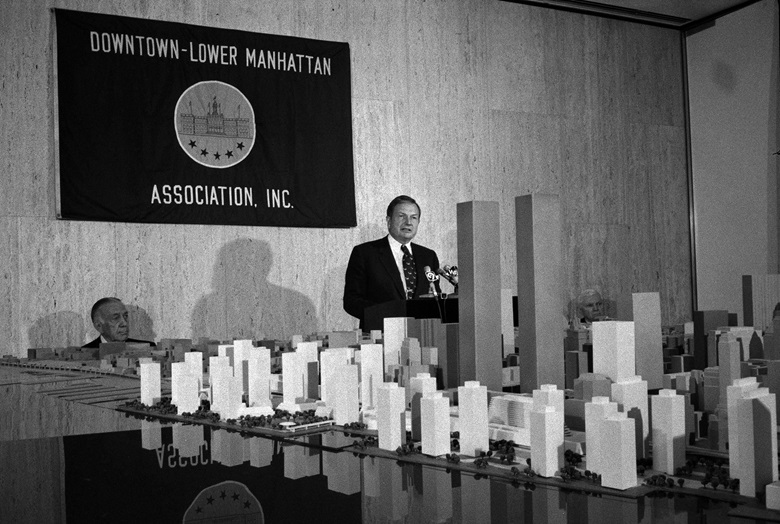 David Rockefeller speaks at a news conference about the the rebuilding of the one-mile-square area from Canal Street to Battery Park, at One Chase Plaza in New York, June 8, 1973. Photo Jack Manning  The New York Times  Redux  eyevine
