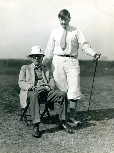 On the golf course with his grandfather, John D. Rockefeller, Sr. Photo courtesy of the Rockefeller Archive Center