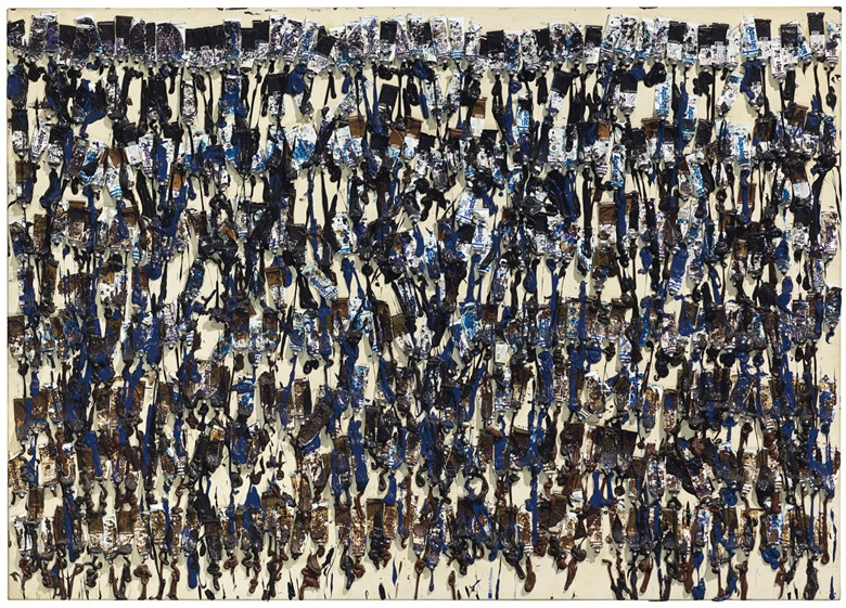 Arman (1928-2005), Untitled, executed in 1989. Paint tubes and acrylic on canvas laid down on panel. 60 x 84 in (152.4 x 213.4 cm). Estimate $40,000-60,000. This work is offered in The Comedians online auction, 5-10 April