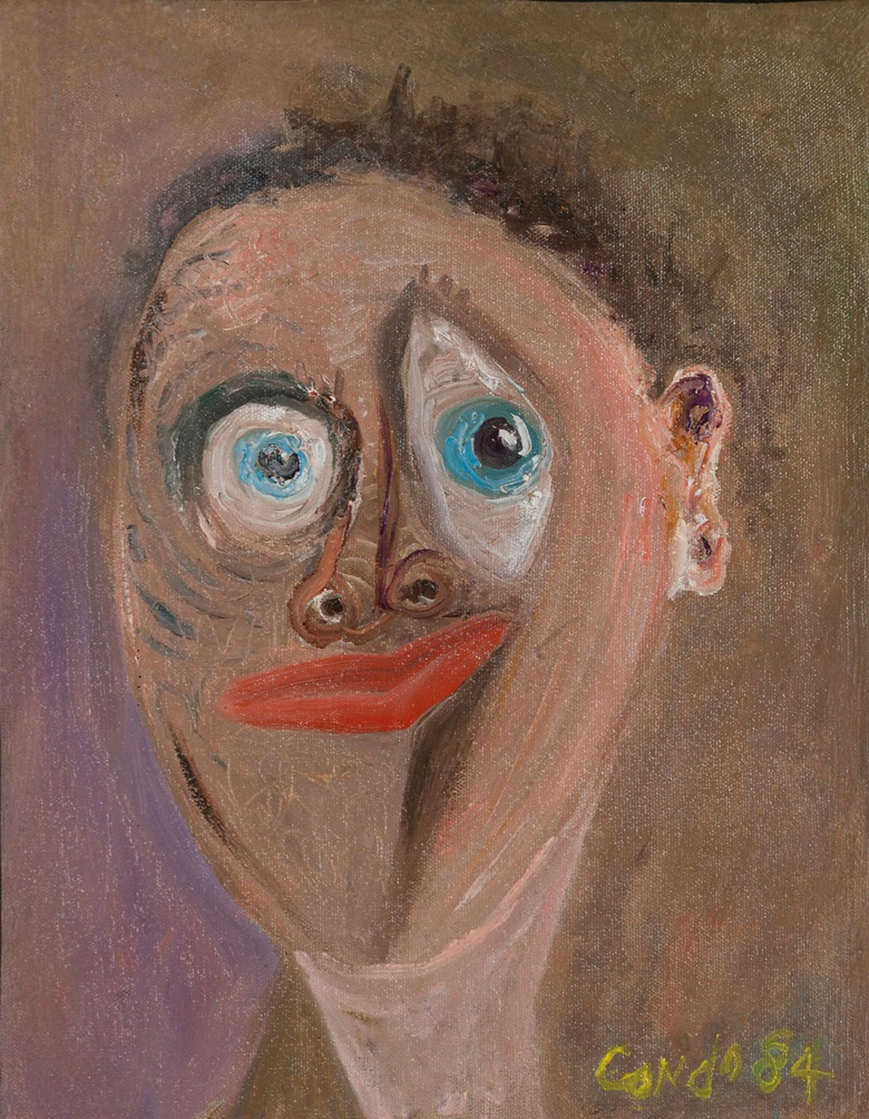 George Condo (b. 1957), Clown, 1984. Oil on canvas. 14 x 11 in (35.6 x 27.9 cm). Estimate $12,000-18,000. This work is offered in The Comedians online auction, 5-10 April