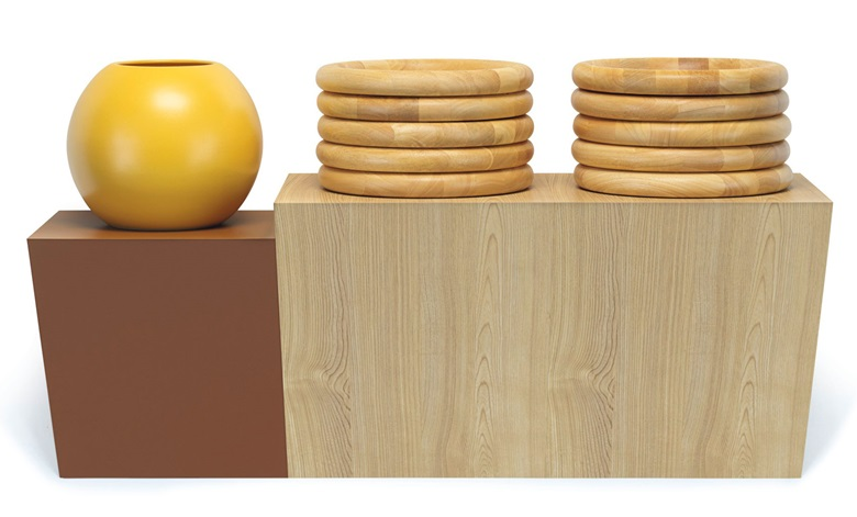 Haim Steinbach (b. 1944), together naturally (tri-part Scandinavian ash) V2, executed in 1986. Plastic laminated wood shelf, ceramic vase, 10 wood trays. 24 x 42⅛ x 14½ in (61 x 107 x 36.8 cm). Estimate $25,000-35,000. This work is offered in The Comedians online auction, 5-10 April