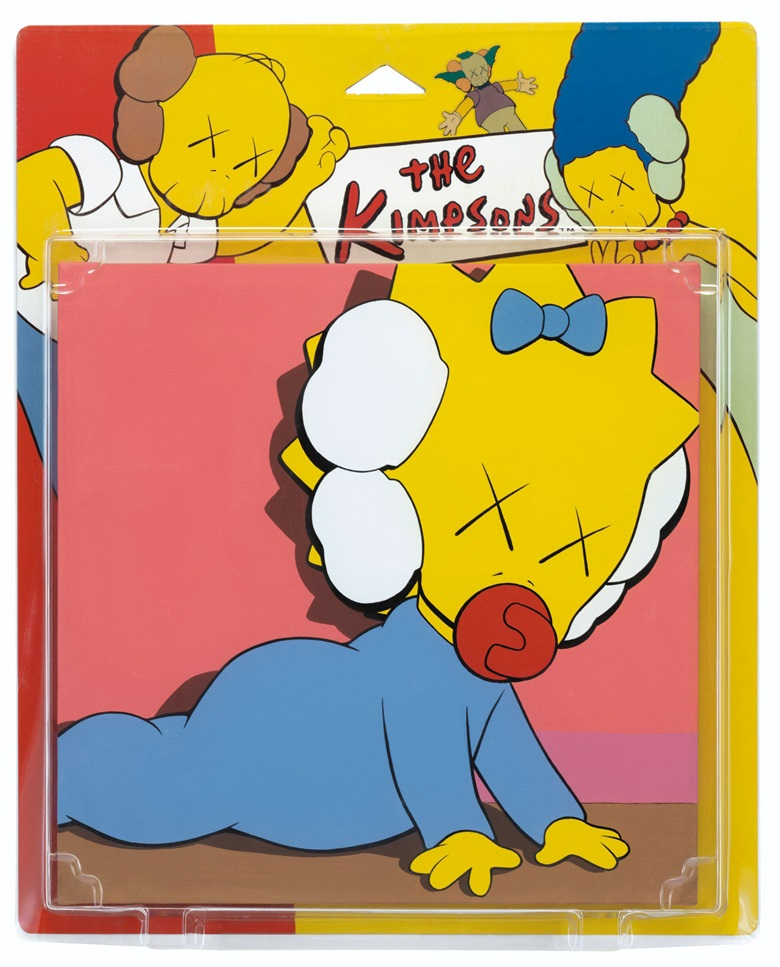 KAWS (b. 1974), UNTITLED (KIMPSONS), executed in 2001. Acrylic on canvas in blister package. 23⅝ x 19⅛ x 3 in (60 x 48.6 x 7.6 cm). Estimate $40,000-60,000. This work is offered in The Comedians online auction, 5-10 April