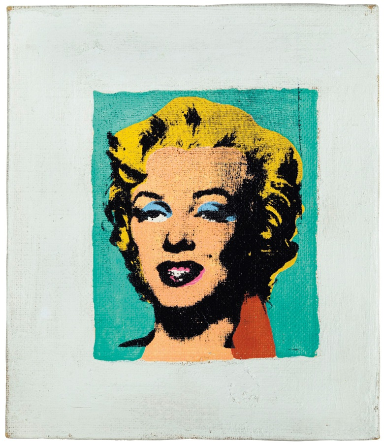 Richard Pettibone (b. 1938), Andy Warhol Marilyn, 1978. Acrylic and silkscreen ink on canvas. 3½ x 3⅛ in (8.9 x 7.9 cm). Estimate $12,000-18,000. This work is offered in The Comedians online auction, 5-10 April