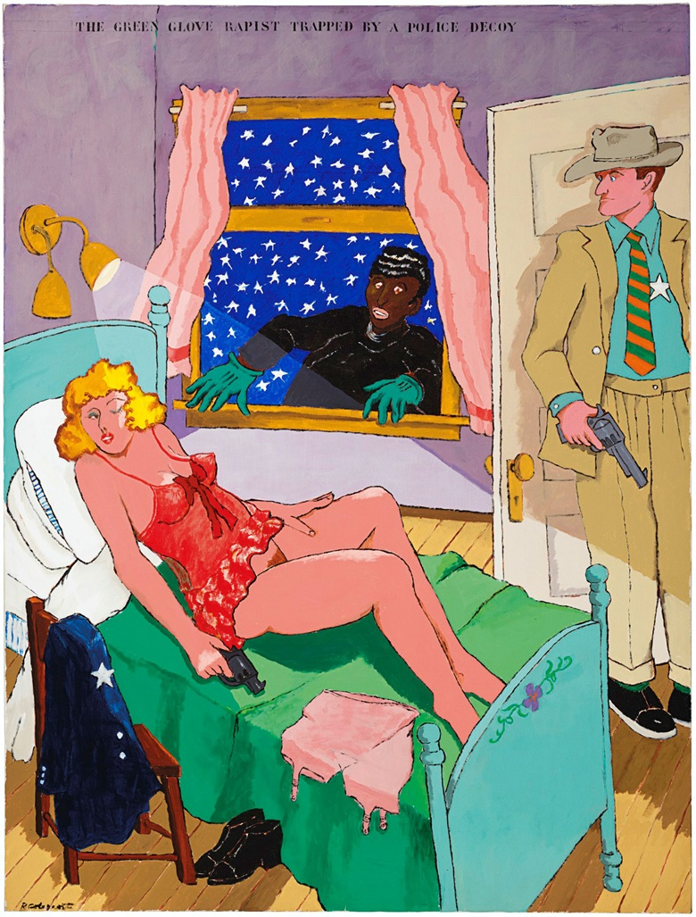 Robert Colescott (1925-2009), Green Glove Rapist, 1971. Acrylic on canvas. 78 x 59¼ in (198.1 x 150.5 cm). Estimate $25,000-35,000. This work is offered in The Comedians online auction, 5-10 April