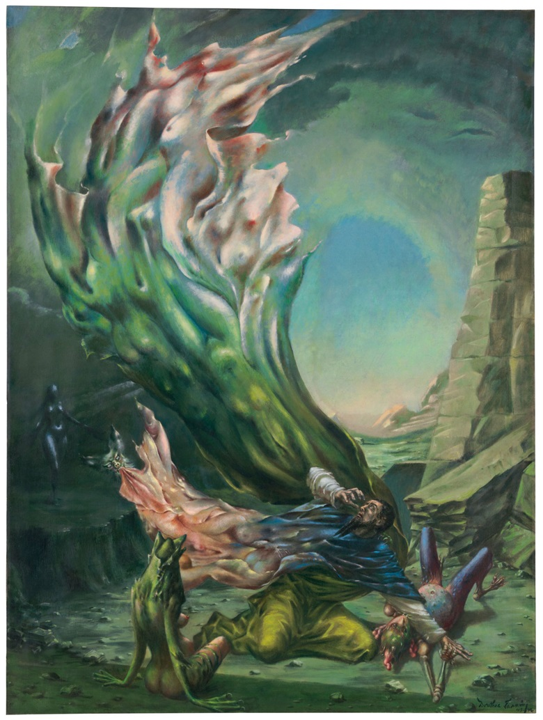 Dorothea Tanning (1910-2012), The Temptation of St. Anthony, painted in 1945-1946. Oil on canvas in the artists painted frame. 47⅞ x 35⅞ in (121.4 x 91.2 cm). Estimate $400,000-600,000. This work is offered in the Impressionist and Modern Art Day Sale on 16 May at Christie's in New York