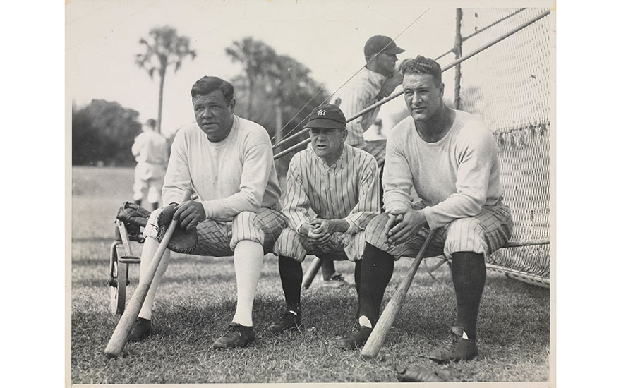 Hall of Famers Babe Ruth and Lou Gehrig with their manager Miller Huggins, circa 1928. Estimate                    $800-1,200. This lot is offered in The Golden Age of Baseball, 29 March to