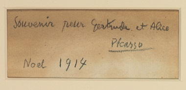 Picasso's inscription to Gertrude and Alice on the back of the painting © Succession PicassoDACS, London 2018