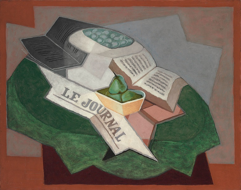 Juan Gris (1887-1927), Le tapis vert, 1925. 28¾ x 36¼  in (73.1 x 92.1  cm). Estimate $2,000,000-3,000,000. This lot is offered in The Collection of David and Peggy Rockefeller 19th & 20th Century Art, Evening Sale on 8 May at Christie's in New York