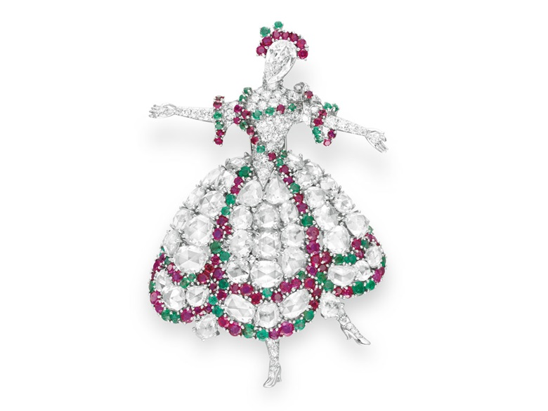 A diamond, ruby and emerald Ballerina brooch, by Van Cleef & Arpels. Sold for $422,500 on 21 October 2009 at Christie's in New York