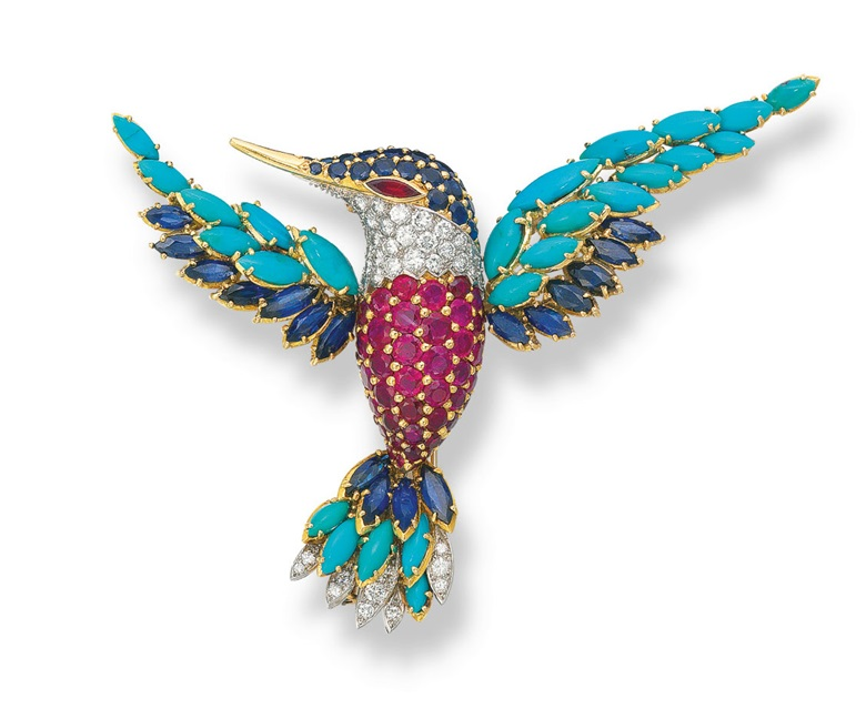 A multi-gem clip brooch, by Van Cleef & Arpels. Sold for HK$250,000 on 26 May 2009 at Christie's in Hong Kong
