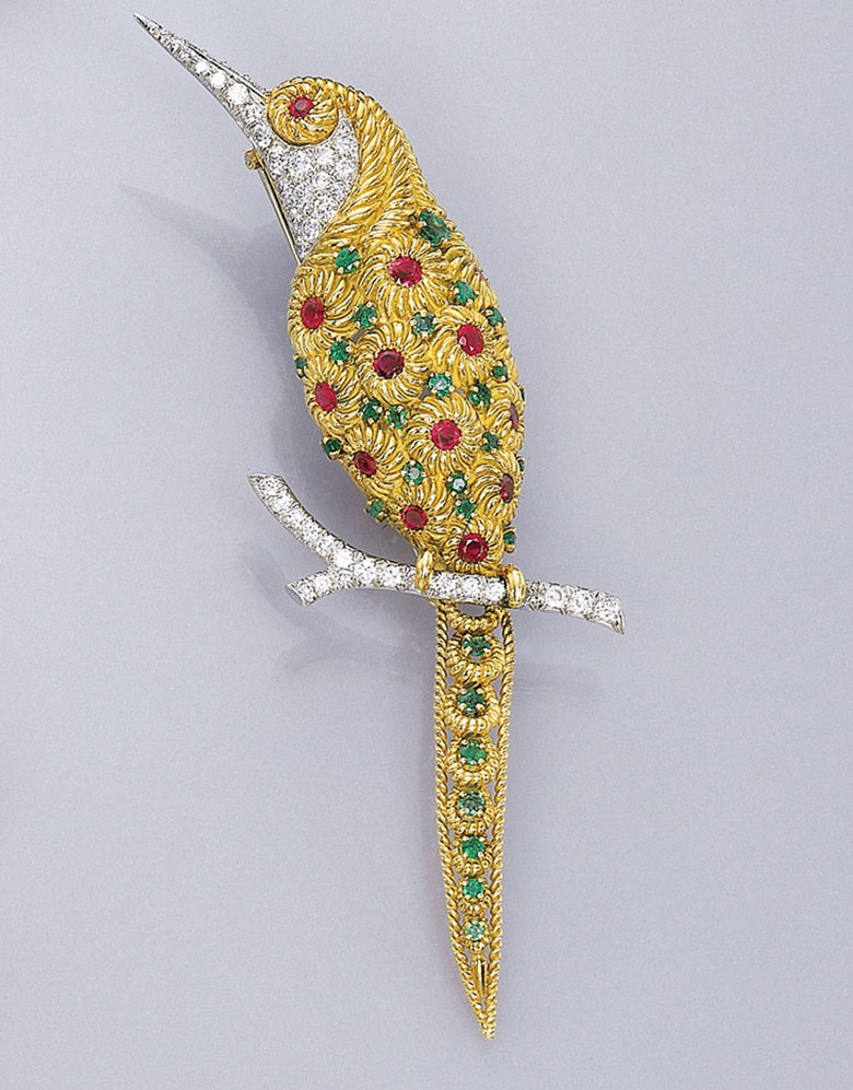 A multi-gem bird clip brooch by Van Cleef & Arpels. Sold for CHF 41,987 on 21 February 2001 at Christie's in St. Moritz