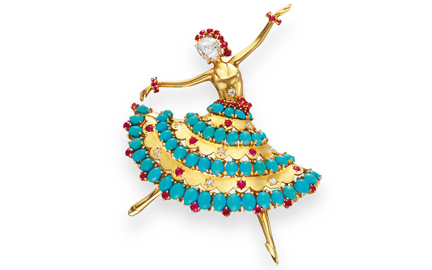 A gold, turquoise, diamond and ruby Ballerina brooch by Van Cleef & Arpels