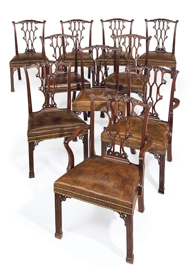 A set of ten George III mahogany dining chairs, circa 1760. Estimate $50,000-100,000. This lot is offered in The Collection of Peggy and David Rockefeller English & European Furniture, Ceramics & Decorations, Part I on 9 May at Christie's in New York