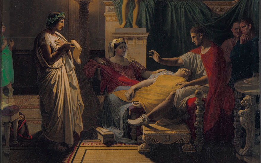 Detail of Jean-Auguste-Dominique Ingres' (French, 1780-1867), Virgil Reading from the Aeneid, 1864. This lot is offered in 19th Century European Art on 18 April at Christie's in New York
