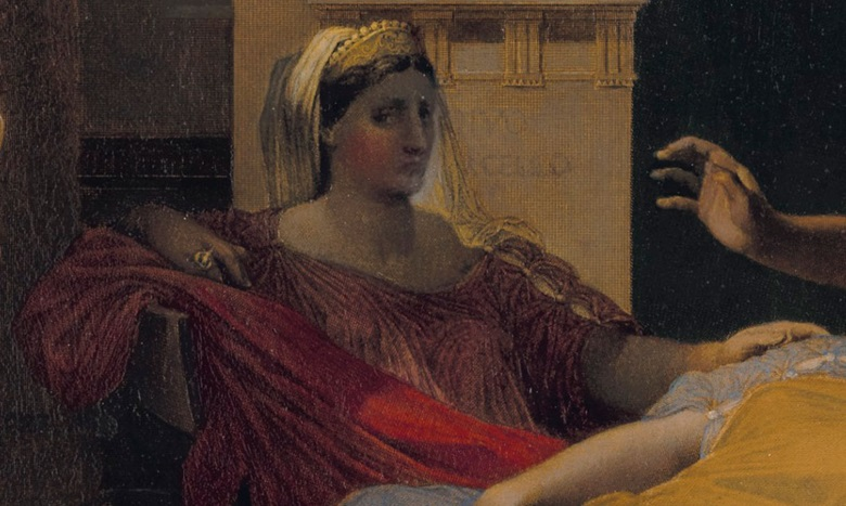 In an 1836 version of the scene Livia was grouped together with Augustus and Octavia. Ingres later moved Livia back towards the shadows