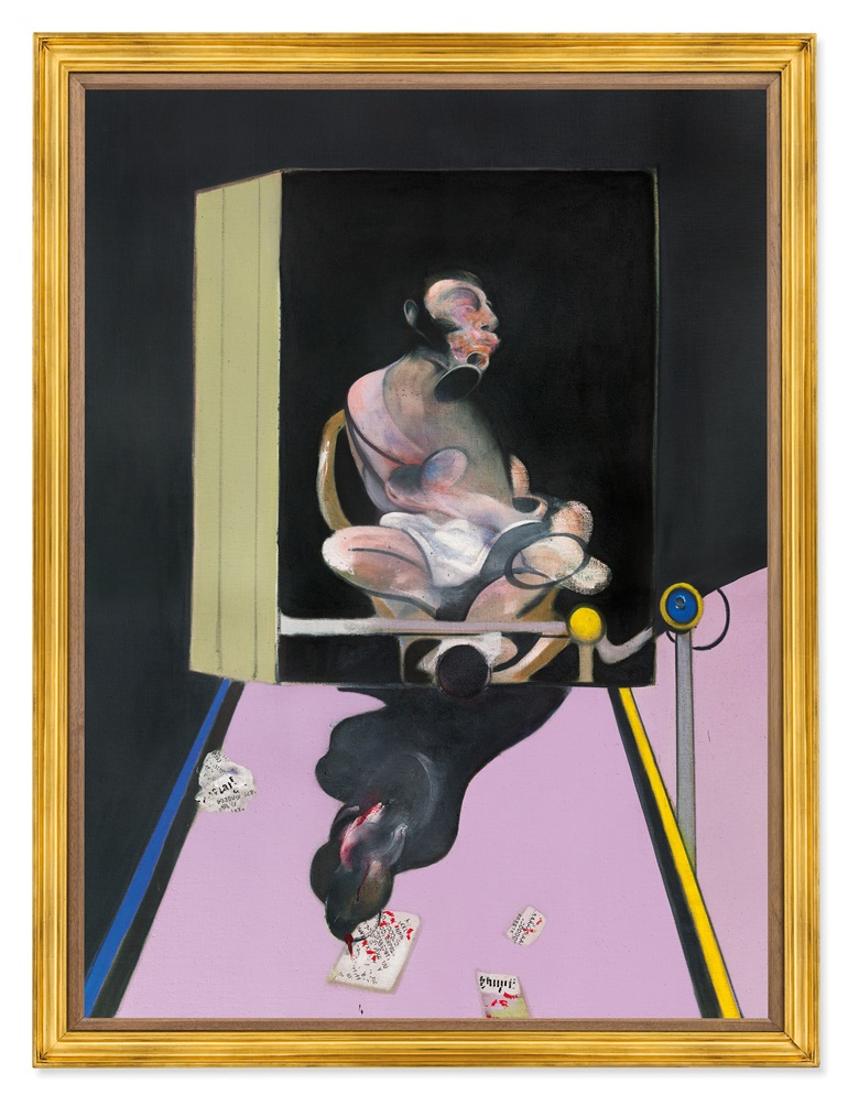 Francis Bacon (1909-1992), Study for Portrait, 1977. Oil and dry transfer lettering on canvas. 78 x 58⅛ in (198.2 x 147.7 cm). Estimate on request. This work is offered in the Post-War and Contemporary Art Evening Sale on 17 May in New York © The Estate of Francis Bacon. All rights reserved  DACS, London  ARS, NY 2018