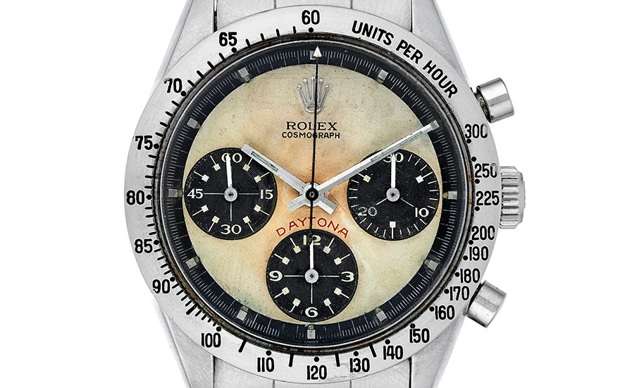 Detail of Rolex, Daytona, Paul Newman, ref. 6239. Bracelet size 8 inches  203 mm. Sold for $106,250 on 13 March 2018, Online