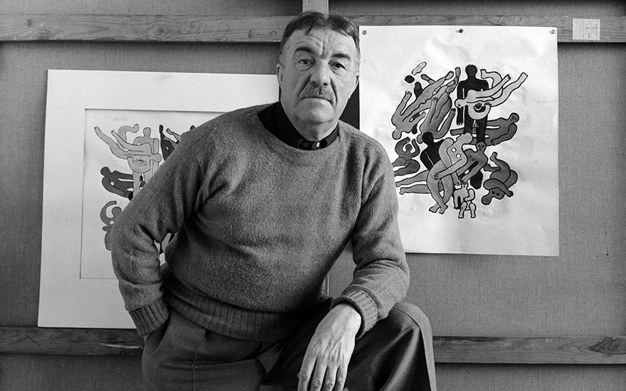Fernand Leger as he poses in front of several of his paintings, New York, 7 October, 1941. Artwork © ADAGP, Paris and DACS, London 2018  Photo Arnold NewmanGetty Images