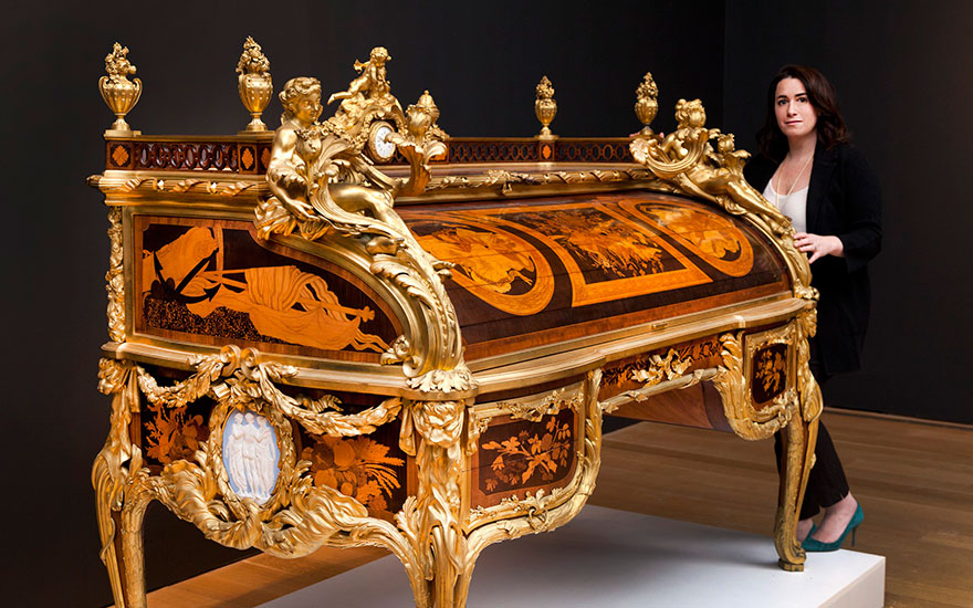 Casey Rogers, Head of 19th Century Furniture & Sculpture at Christie's in New York, with Beurdeley's Bureau du Roi