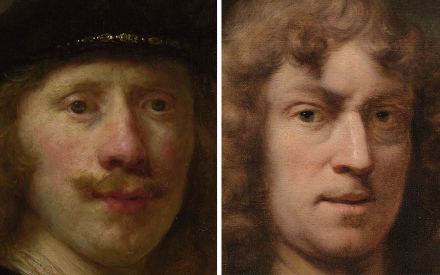 Left Govert Flinck, Self-Portrait Aged 24. This work is in the collection at the National Gallery London. Photo Getty Images. Right Ferdinand Bol painted this distinguished self-portrait on the