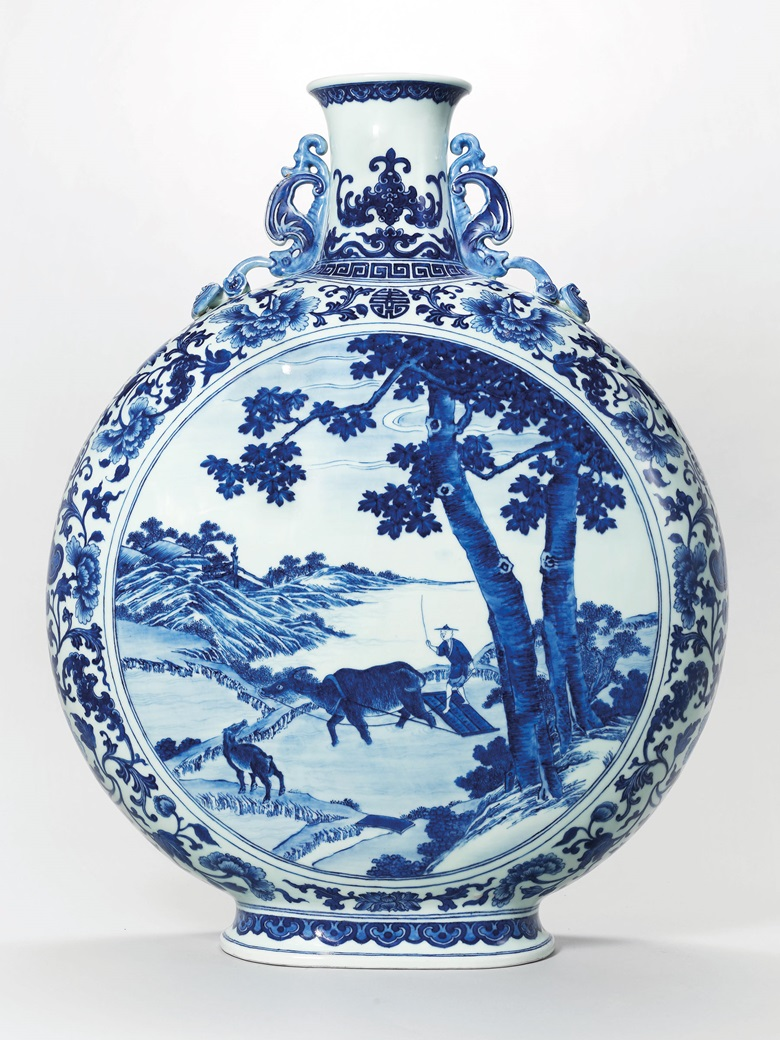 A magnificent blue and white moonflask. Qianlong six-character seal mark in underglaze blue and of the period (1736-1795). 23¼ in (59 cm.) high. Estimate HK$60,000,000–80,000,000. This work is offered in The Three Qianlong Rarities on 30 May 2018 at Christie's in Hong Kong