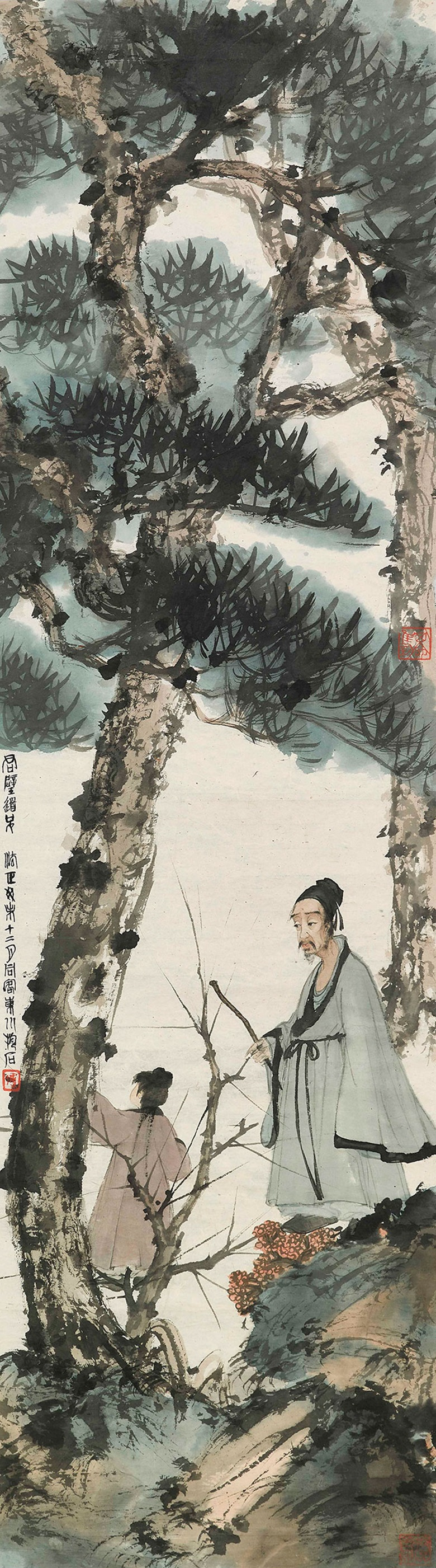Fu Baoshi (1904-1965), Asking the Child under Pinetree, 1943. Unmounted scroll, framed, ink and colour on paper. 108.5 x 31cm (42¾ x 12¼ in). Estimate HK$35,000,000-45,000,000. This work is offered in Fine Chinese Modern Paintings on 29 May 2018 at Christies in Hong Kong