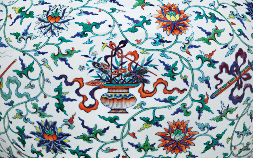 Detail of an extremely rare doucai  and famille rose 'anbaxian' vase, tianqiuping. Qianlong six-character seal mark in underglaze blue and of the period (1736-1795). 21¼ in (54