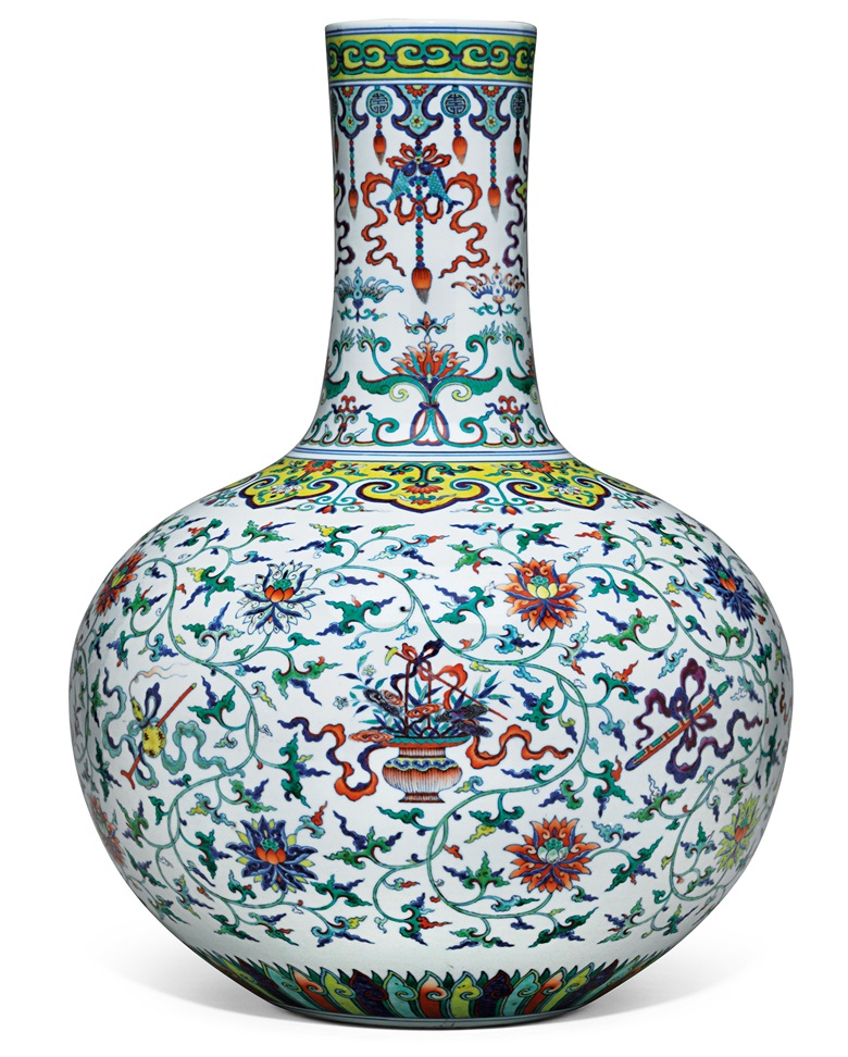 An extremely rare doucai and famille rose 'anbaxian' vase, tianqiuping. Qianlong six-character seal mark in underglaze blue and of the period (1736-1795). 21¼ in (54 cm) high. Estimate HK$70,000,000–90,000,000. This work is offered in Celestial Immortals — The Taber Family Tianqiuping from Philbrook Museum of Art on 30 May 2018 at Christie's in Hong Kong